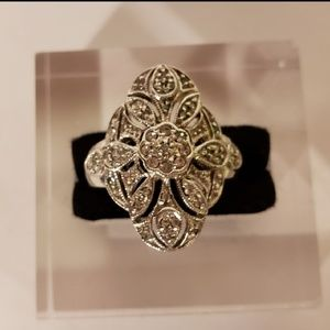 Vintage 1990s Filigree Cubic Zirconia Ring